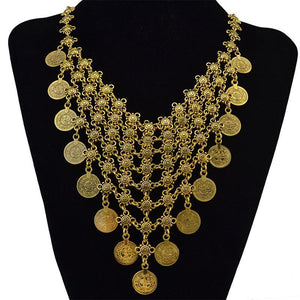 Gypsy Fashion Bohemian Antique Silver Double Layer Coin Necklace