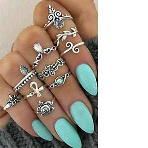 10 Pcs Set Boho Vintage Cute Turtle Rings Bohemian Jewelry
