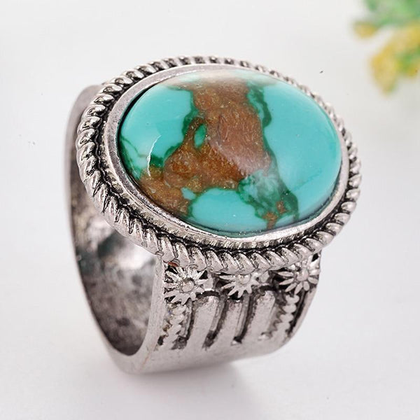Large Blue Stone Vintage Boho Antique Silver Color Ring