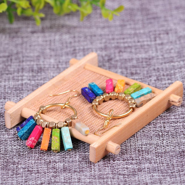 Creative 7 Chakra Colorful Natural Stones Gold Beads Dangle Earrings