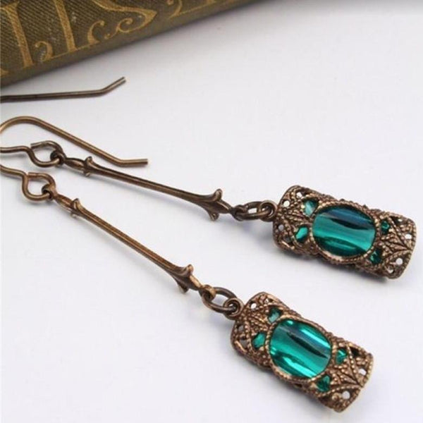 Long Blue Green Stone Dangle Women Bohemian Jewelry Antique Silver Drop Earrings