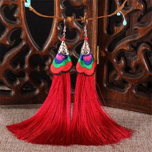 Ethnic Tibet Embroidery Long Tassel Drop Retro Bohemia Handmade Tassel Earrings