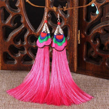Load image into Gallery viewer, Ethnic Tibet Embroidery Long Tassel Drop Retro Bohemia Handmade Tassel Earrings