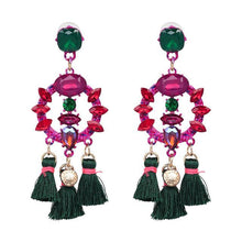 Load image into Gallery viewer, Charm Fringed Luxury Circle Pendant Tassel Statement Earrings