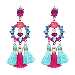 Charm Fringed Luxury Circle Pendant Tassel Statement Earrings