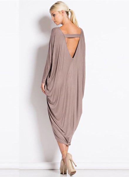 Batwing Sleeve Backless High Low Loose Dress