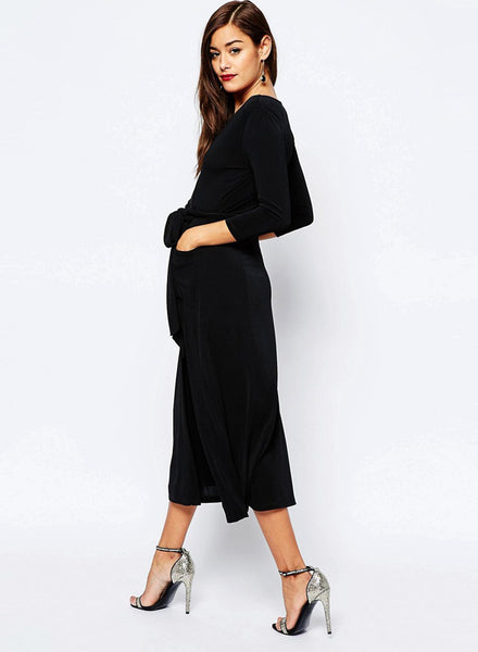 Women s Solid V Neck 3/4 Sleeve High Slit Midi Dress