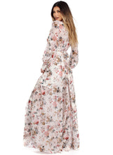 Load image into Gallery viewer, Women s Boho V Neck Long Sleeve High Waist Maxi Floral Dress