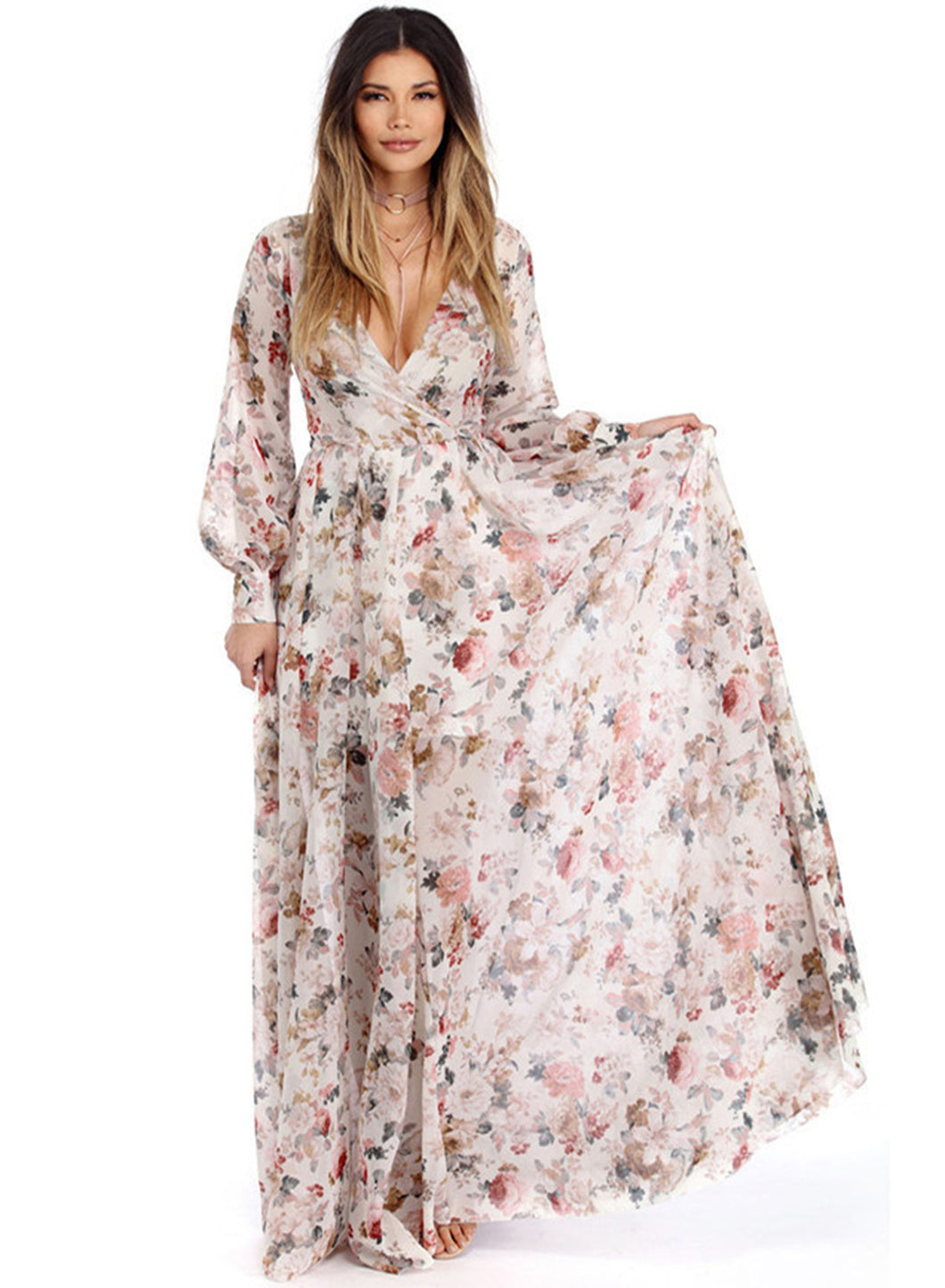 Women s Boho V Neck Long Sleeve High Waist Maxi Floral Dress