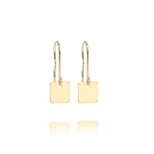 Square name tag earrings 9kt
