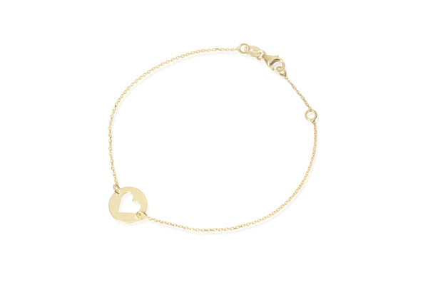 Friendship heart bracelet 9kt