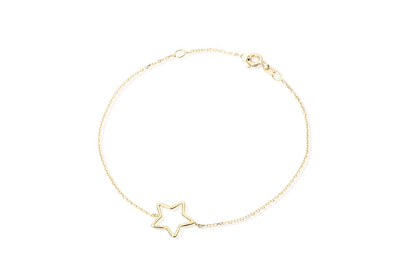 Empty star bracelet yellow gold 9kt