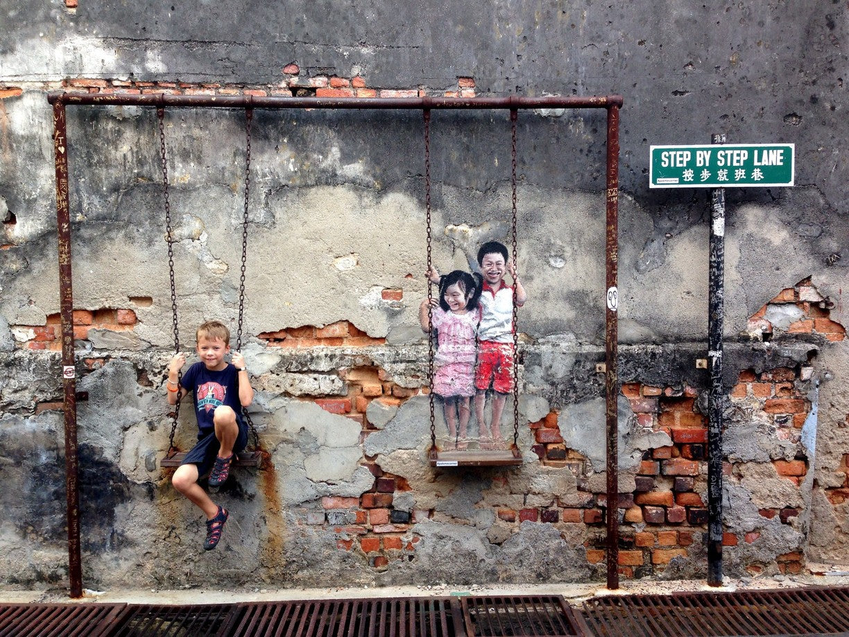 Brother and Sister on a Swing Mural Georgetown Malaysia SENIIKU Marketplace