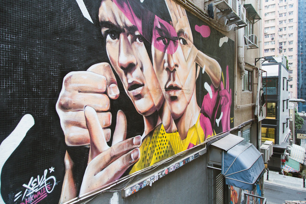 Bruce Lee Mural Art Graffiti Artist Xeva Tank Lane Sheung Wan Hong Kong Art SENIIKU Marketplace