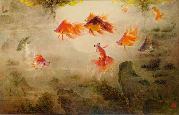 Lee Man Fong Goldfish Collection Oil Painting Famous Artist Indonesia SENIIKU Creator Marketplace