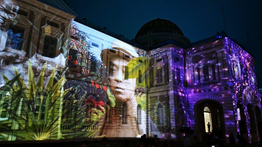 Singapore Night Festival Art Projected On The Wall SENIIKU Online Art Gallery and Market