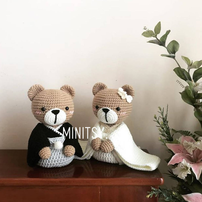 Japanese Wedding Teddy Bear Amigurumi Crochet Doll