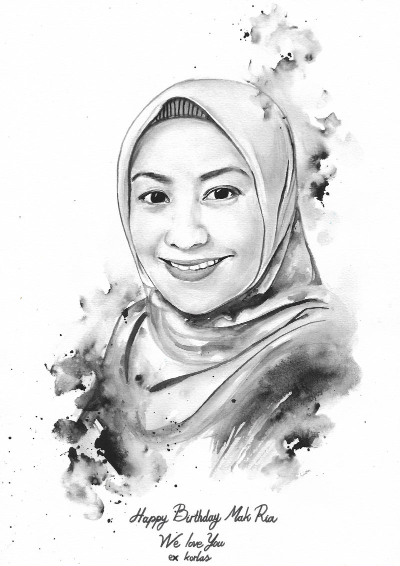 Watercolor Potrait (Black and White A4) 1 Face