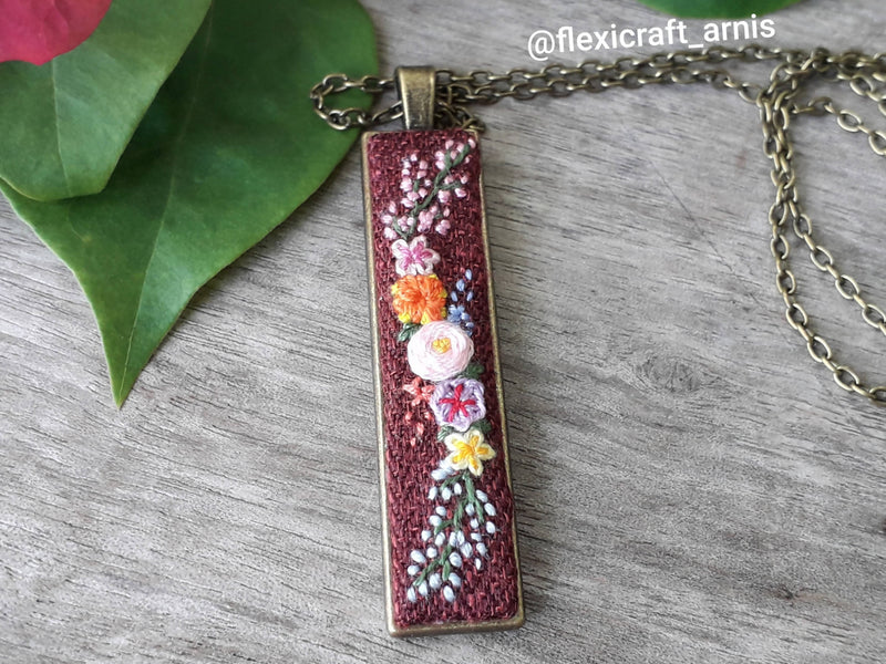 Rectangle Embroidered Pendant, Floral Embroidery Necklace, Embroidery Jewelry Set