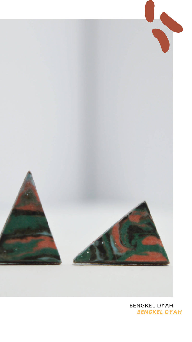 Triangle Earrings - Green Pink