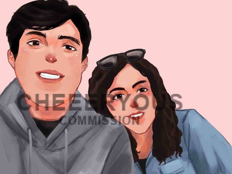 BUST UP COUPLE Digital Illustration