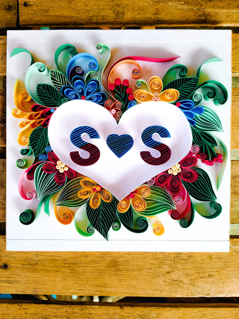 Quilled Initial Letters in Two Hearts