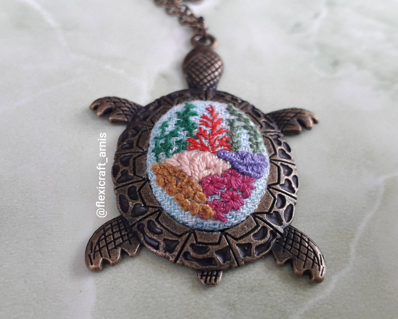 Embroidery Pendant, Embroidery Necklace, Turtle Pendant, Coral Reef Embroidered Necklace