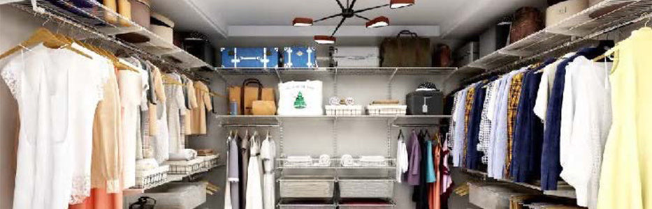 Walk-in wardrobe shelving