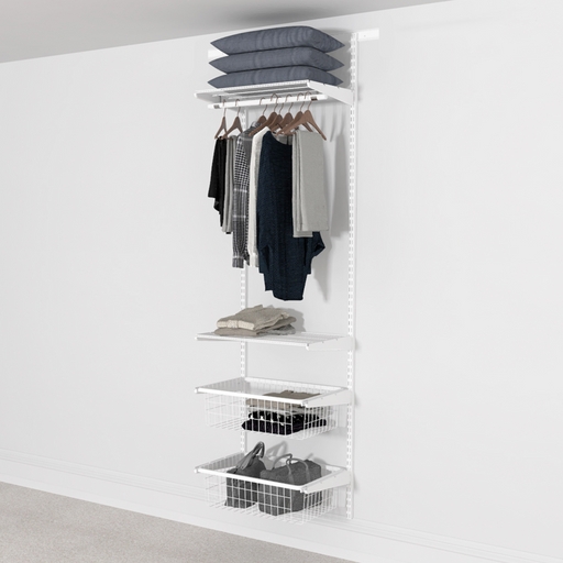 63cm Wide Open Wardrobe System with 2x Baskets