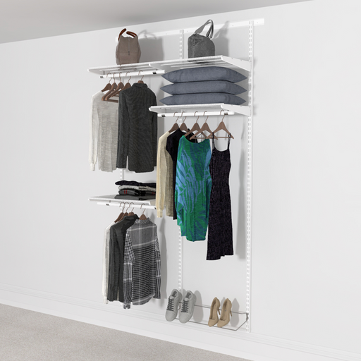 124cm Wide Open Wardrobe System with Shoe Storage