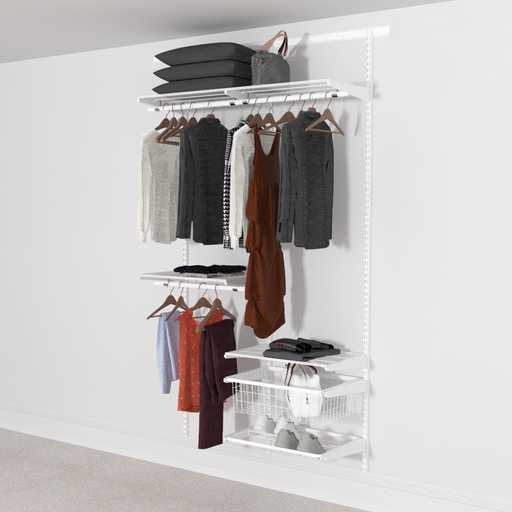 Open Wardrobe System with Shoe Storage & Basket 124cm (W) Pull Out Shoe Rack