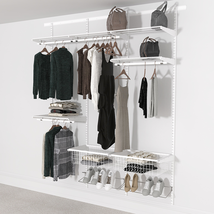 Open Wardrobe System with Shoe Storage & Baskets 185cm (W) Wire Shoe Shelf