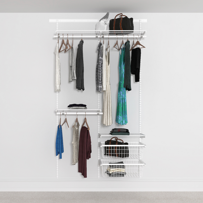 124cm Wide Open Wardrobe System with 2x Baskets