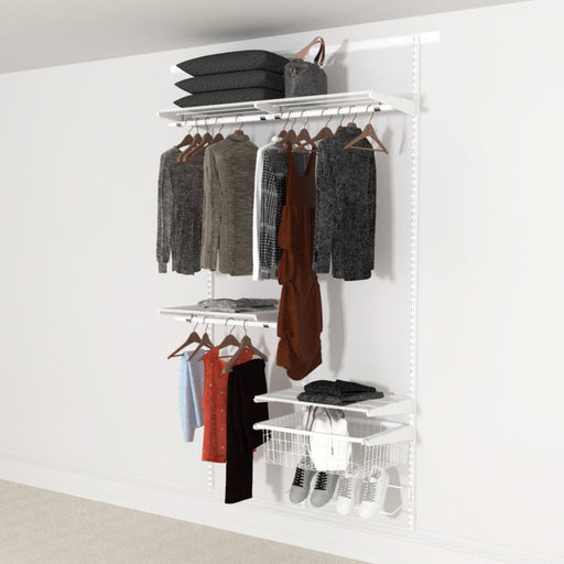 Open Wardrobe System with Shoe Storage & Basket 124cm (W) Wire Shoe Shelf