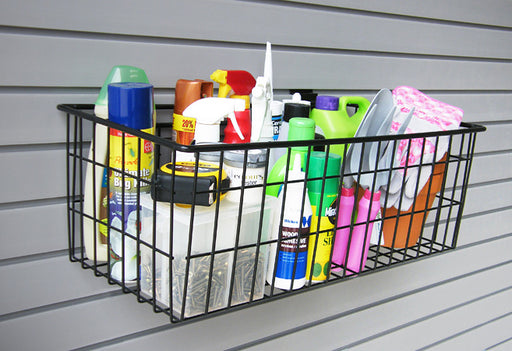 "24"" x 12"" Deep Basket securely holding multiple items in the garage"