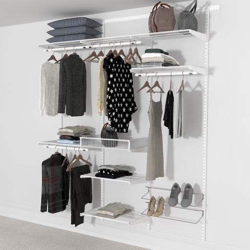 185cm Wide Open Wardrobe System with Shoe Storage and Extra Shelves