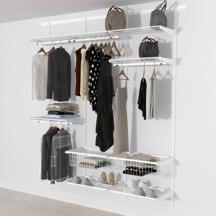 Open Wardrobe System with Shoe Storage & Baskets 185cm (W) Pull Out Shoe Rack