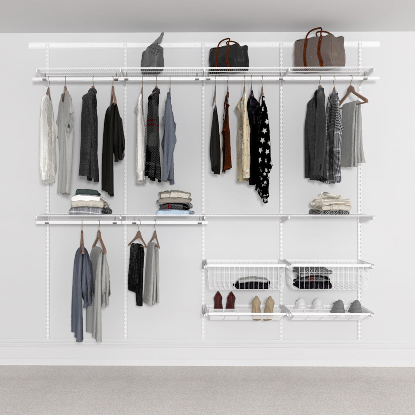 Open Wardrobe System with Shoe Storage & Baskets 246cm (W) Pull Out Shoe Rack