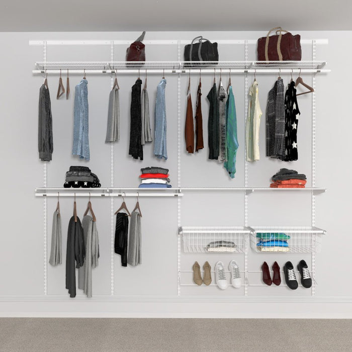 Open Wardrobe System with Shoe Storage & Baskets 246cm (W) Wire Shoe Shelf
