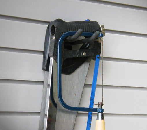 "4"" Double Hook hanging hacksaws and saws stacked up against each other"