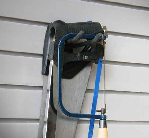 "The 4"" Double Hook that comes with the Garage Storage Organisation Kit 100 (25 Piece) can be used to hold garage tools such as hacksaws and tools"