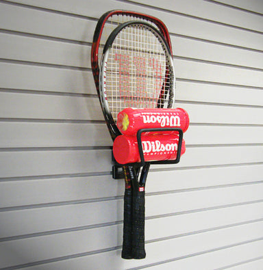 "Versatile 8"" Loop Hook securely holding two tennis rackets as well as two tubes of tennis balls"