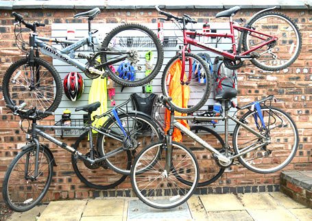 Family Bike Storage Rack easily wall mounting bikes and bike accessories