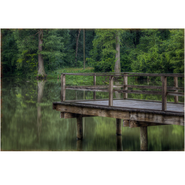alligator lake dock shown as a gallery wrapped canvas