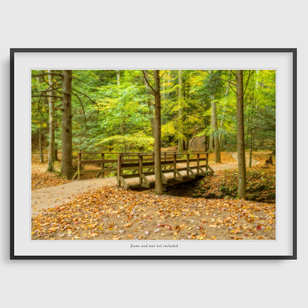 print of a bridge in hocking hills state park ohio