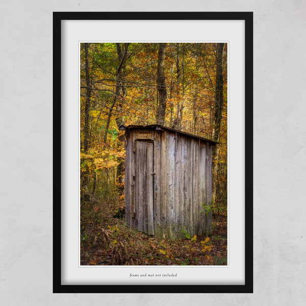 outhouse in a fall forest print