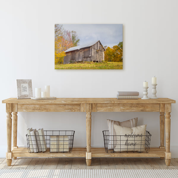 ohio barn fall canvas wall art in entry