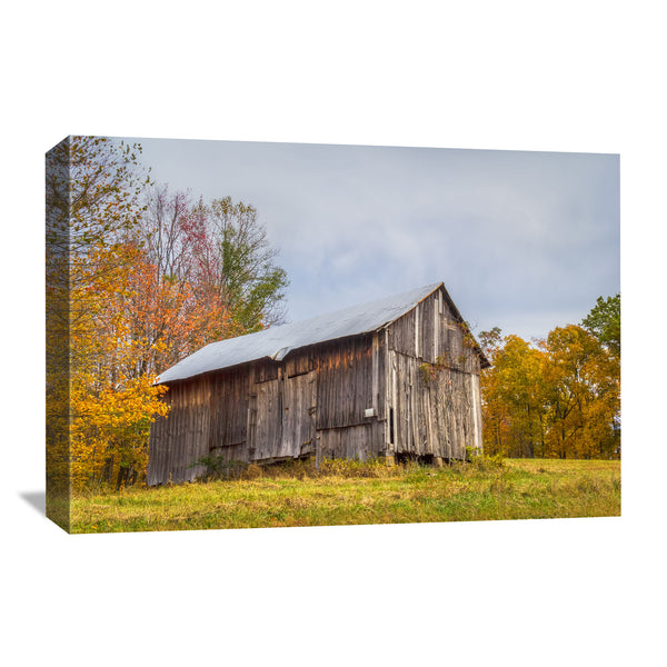 canvas art of an ohio barn in the fall