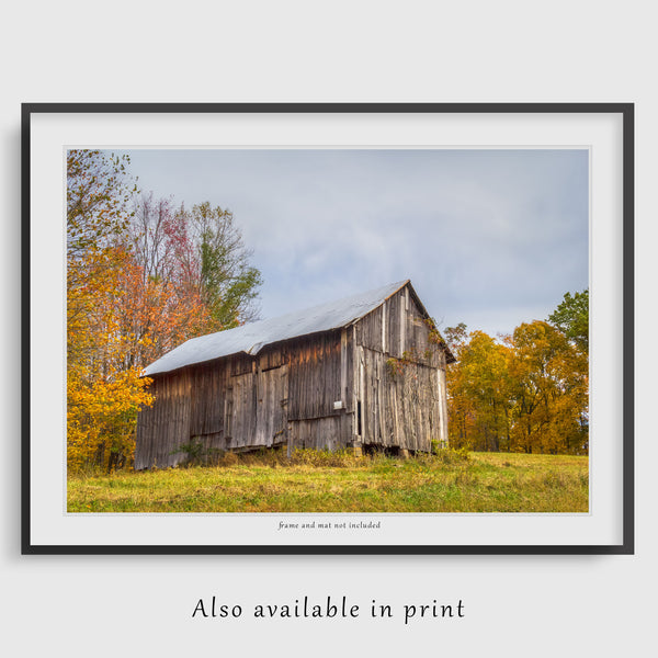 wall art print of an ohio barn in the fall