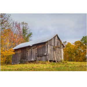 fall wall art of an ohio barn